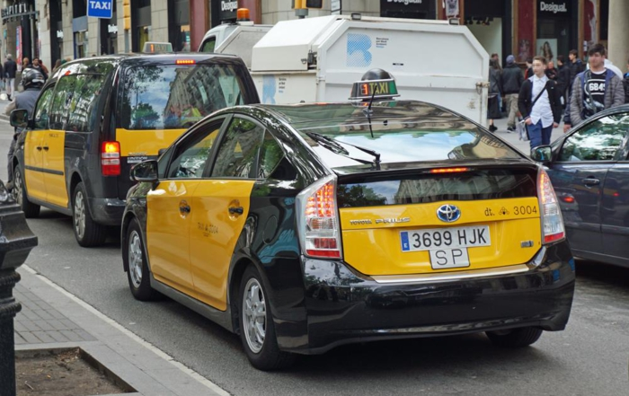 Toyota Prius taxi in Barcelona, Spain