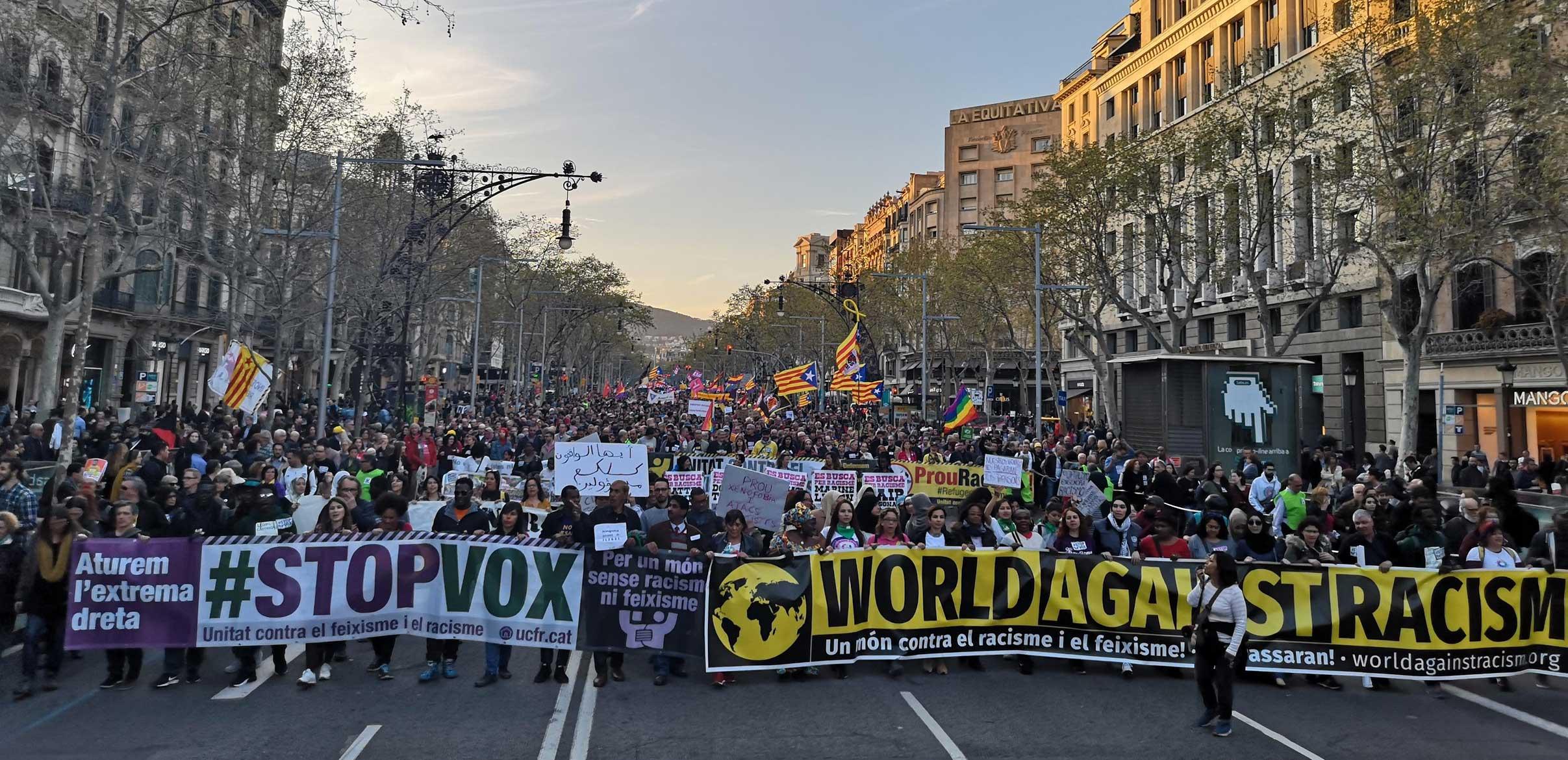 Capçalera de la manifestació #StopVox del 23 de març de 2019